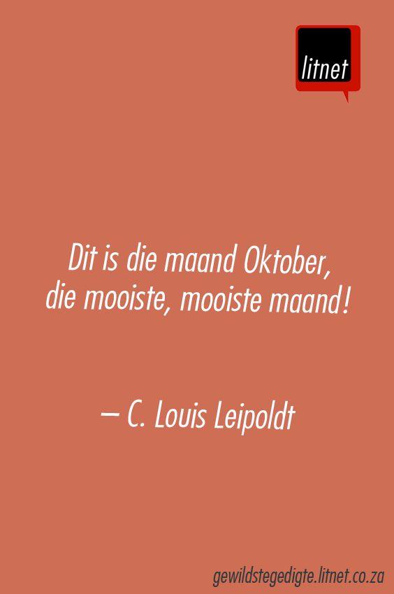 C Louis Leipoldt - Oktober #afrikaans #poësie #Afrikana