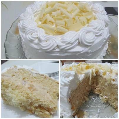 Ingredientes: Para o bolo: , 2 ovos , 1 colher (sopa) de margarina , 1 xícara (chá) de açúcar , 1/2 xícara (chá) de leite morno , 1 e 1/4 xícara (chá) de farinha de trigo , 1 colher (sobremesa) de fermento , Para o recheio: , 1 abacaxi pequeno , Açúcar para cozinhar o abacaxi , 500 gramas de chocolate branco nobre de boa qualidade (não pode ser fracionado e nem hidrogenado) , 1 lata de creme de leite (sem o soro) , 1 colher (sopa) de conhaque (não coloquei) , 1 colher (chá) de essência de…