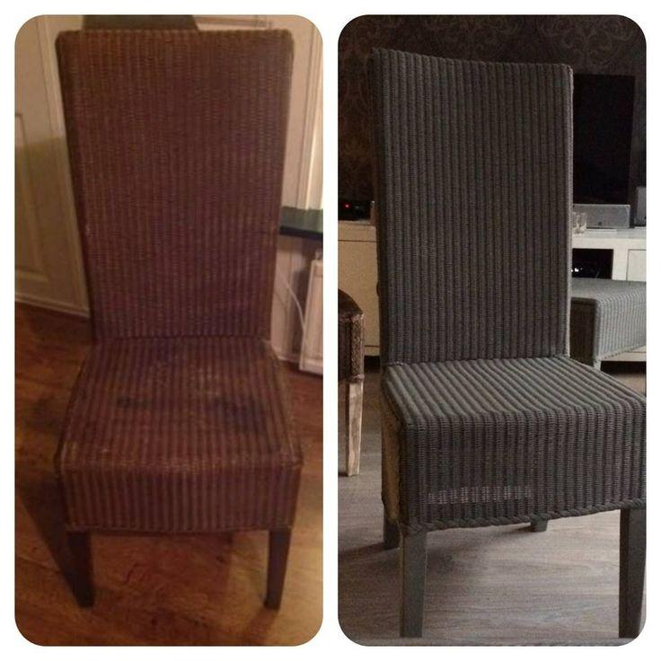 rieten stoelen behandeld met abbondanza krijtverf in de kleur taupe