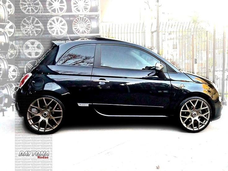 "Fiat 500 rebaixado, rodas 18"" | Lowered Fiat 500 Sport with bronze 18"" rims"