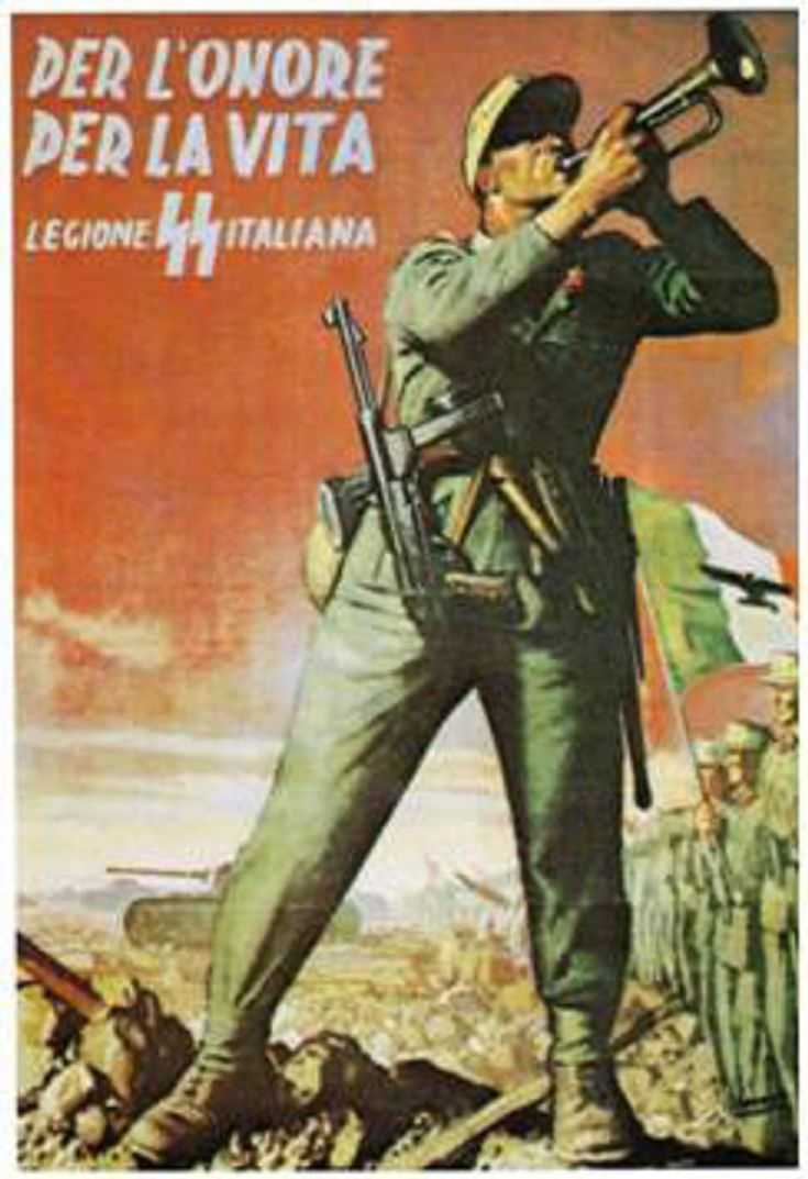 Italian SS Legion recruiting poster, Gino Boccasile: The bugler is calling all to join the Italiane SS Legione.