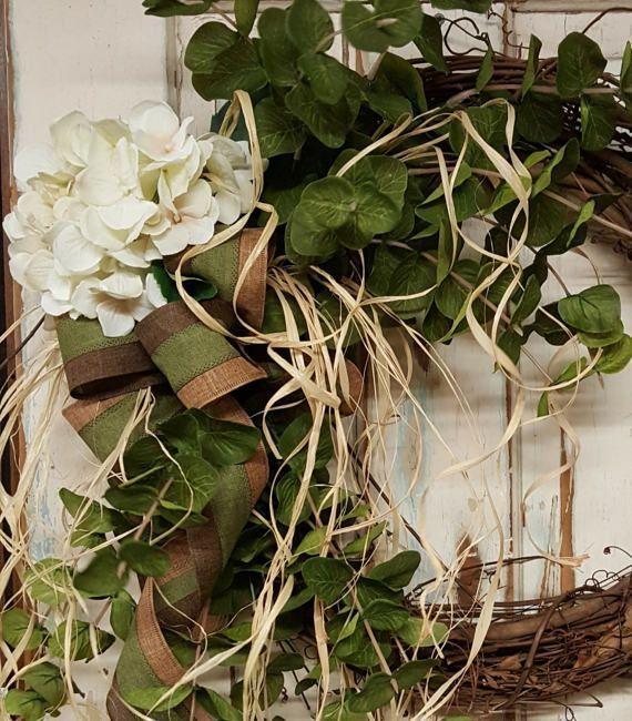 hydrangea Front door wreath, Greenery Wreath, Wreath Great for All Year Round, EucalyptusWreath, Door Wreath, Front Door Wreath