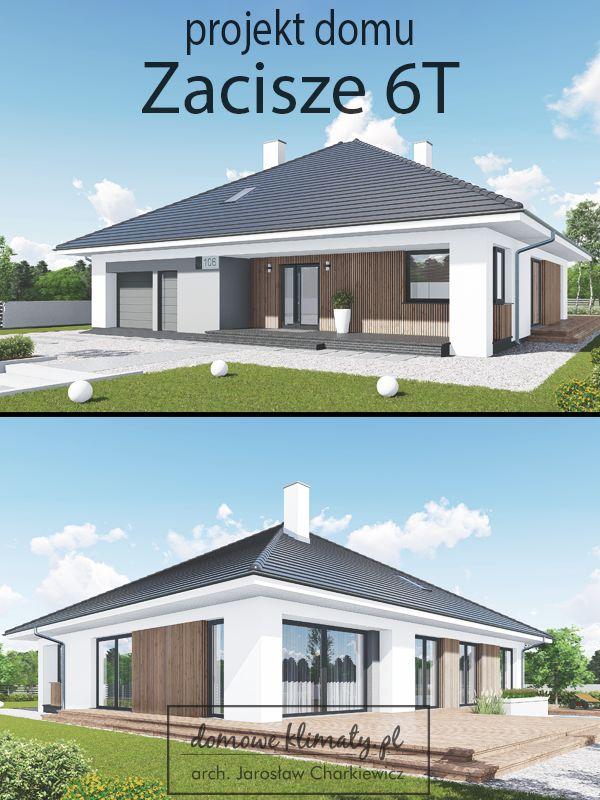 Projekt domu parterowego z wygodnym wnętrzem, utrzymanego w nowoczesnej stylistyce. Funkcjonalne i przestronne wnętrze posiada wszystko, co może zapewnić mieszkańcom komfort i wygodę. Warto zwrócić uwagę na wyposażenie domu w dwie łazienki, dużą garderobę oraz garaż z aneksem na drobny sprzęt.