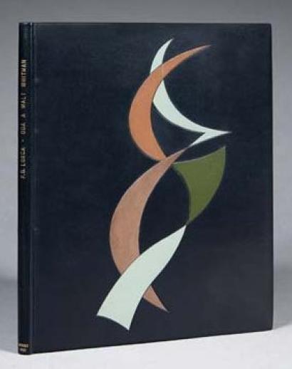 GARCIA LORCA (Federico) Oda a Walt Whitman. Mexico, Alcancia, 1933. In-4: box noir, décor mosaïqué de box taupe, olive et mastic sur le premier plat, non rogné, tête dorée, couvertures illustrés conservés (Laurenchet).