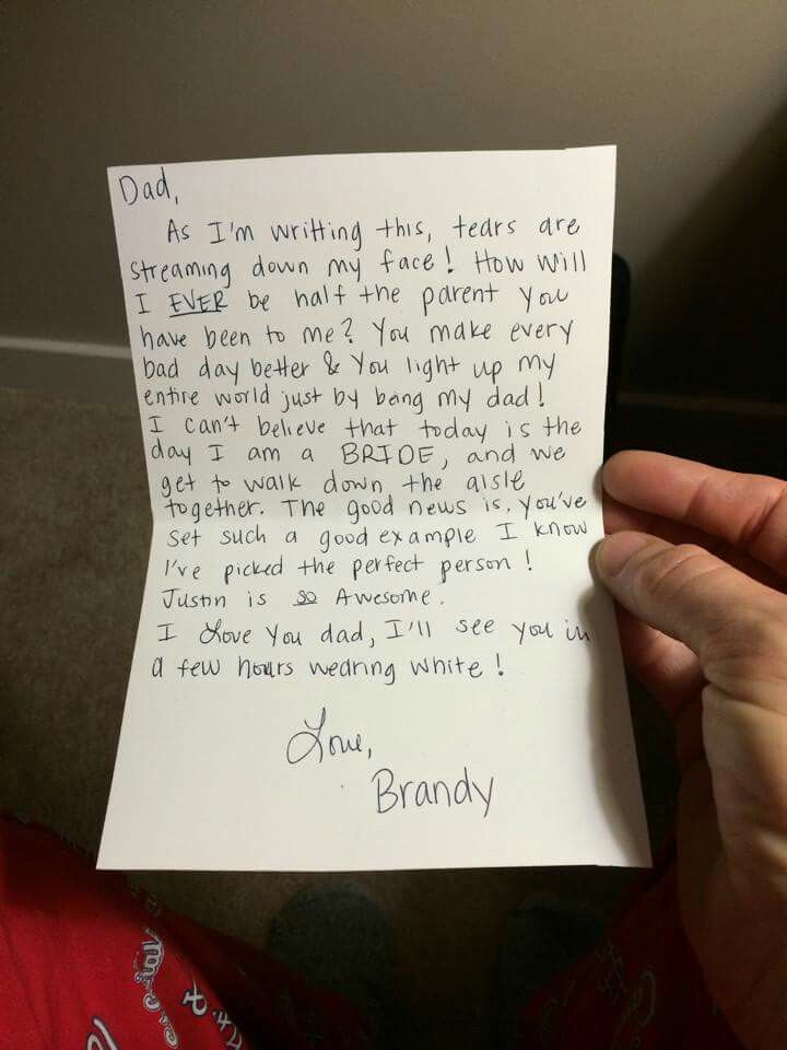 Note To Dad On Wedding Day Daddy Pins In 2018 Pinterest Dads