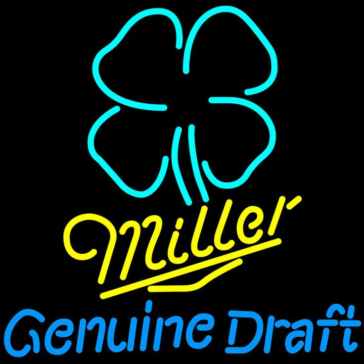 Miller MGD Clover Neon Sign, Miller MGD Neon Beer Signs & Lights   Neon Beer Signs & Lights. Makes a great gift. High impact, eye catching, real glass tube neon sign. In stock. Ships in 5 days or less. Brand New Indoor Neon Sign. Neon Tube thickness is 9MM. All Neon Signs have 1 year warranty and 0% breakage guarantee.