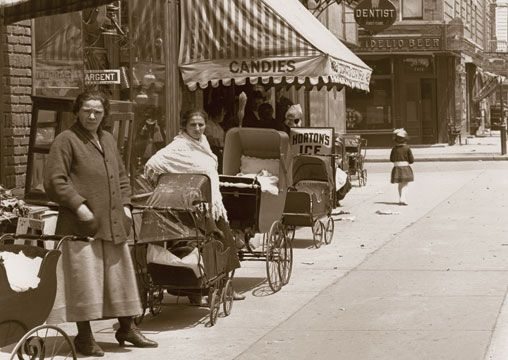 MOMS & CARRIAGES: Livonia Av. East to Powell Street. Brownsville, Brooklyn 1917