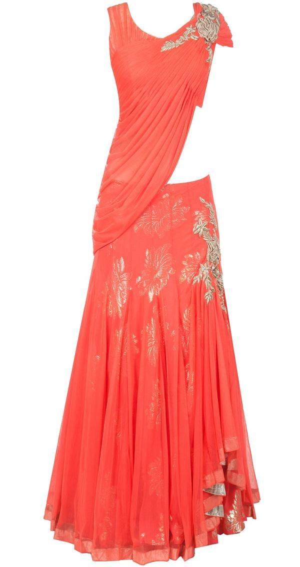 Featuring a holi orange embroidered blouse in net along with a georgette draped lehenga with net overlay - cooliyo.com