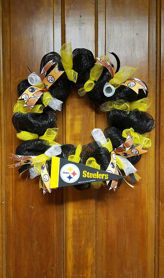 Check out this item in my Etsy shop https://www.etsy.com/listing/487098730/pittsburgh-steelers-inspired-wreath