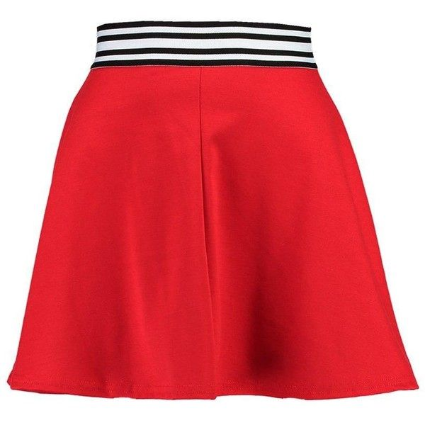 Boohoo Petite Melissa Sports Trim Skater Skirt ($11) ❤ liked on Polyvore featuring skirts, red circle skirt, boohoo skirts, sports skirts, red flared skirt and red skater skirt