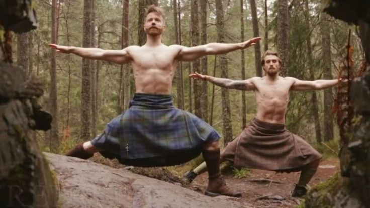 A video of yoga being done in kilts in a cold forest in Highland Perthshire has become a viral hit on social media.