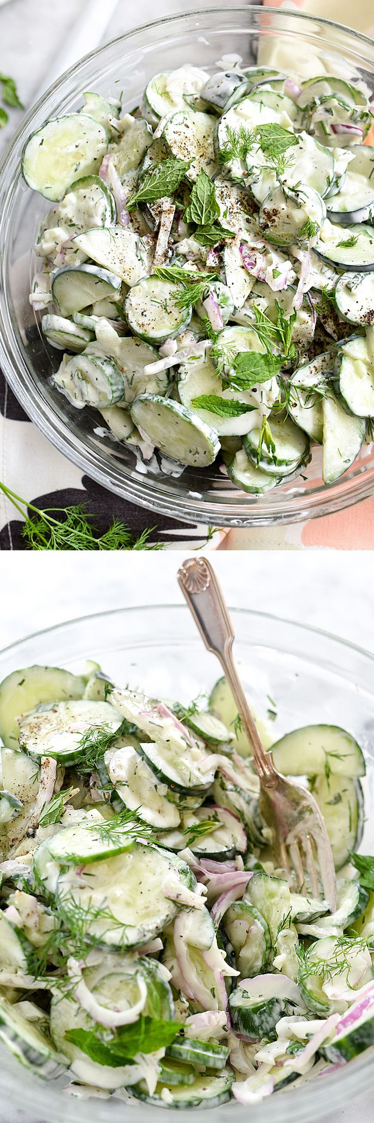 Creamy Yogurt Cucumber Salad by foodiecrush: Refreshing. #Salad #Cucumber #LIght #Healthy