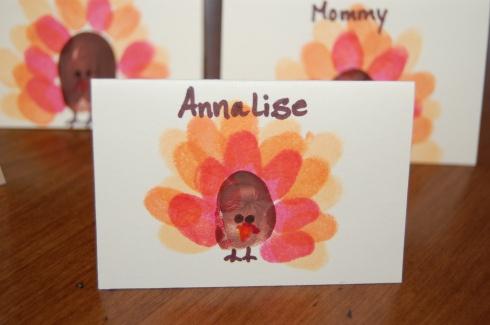 fingerprint turkey plate cards
