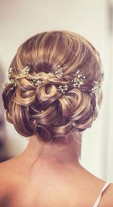 Bridal, vintage updo, gypsophila, baby's breath, intricate