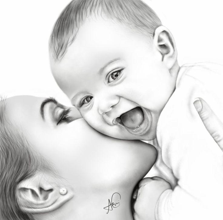 Ребенок в картинках карандашом, днем ситцевой
