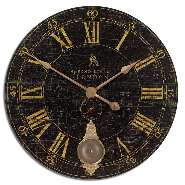 This antique style black wall clock is based