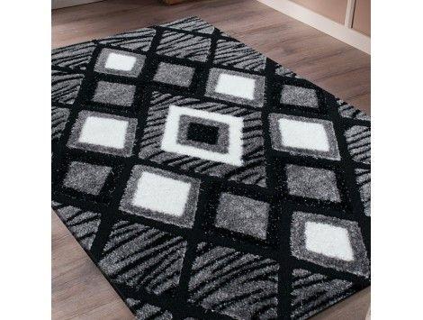 Le tapis shaggy moderne gris et noir vous séduira grâce à son design de cube, il conviendra parfaitement pour le salon, la chambre ou le couloirs, tapis pas cher