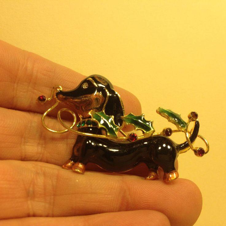 Boucher Black Flower Rose Pin Brooch Signed Numbered: Vintage Black Enamel & Rhinestone DACHSHUND DOG BROOCH Pin