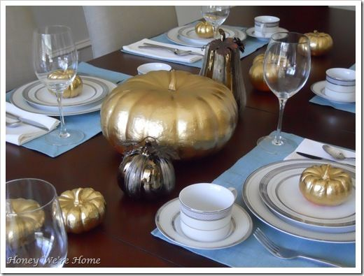 Painted Pumpkins Thanksgiving Tablescape
