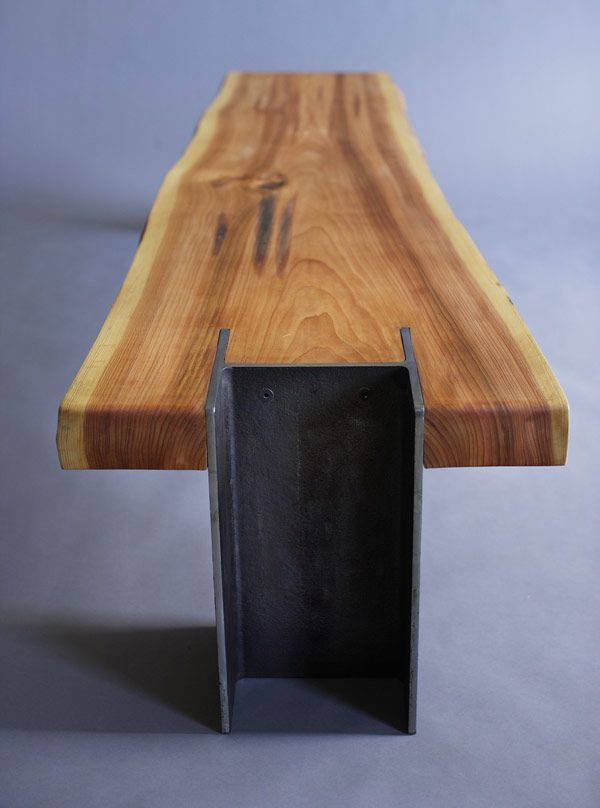 Quartertwenty modern live edge bench steel