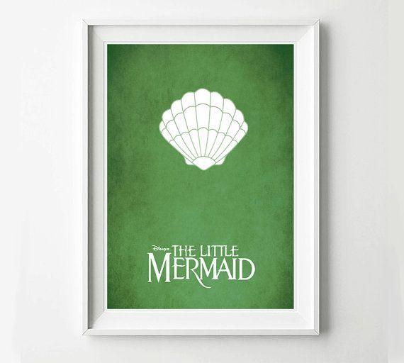 Disney The Little Mermaid Movie Poster - Minimalist print, Digital Art Print, Disney Decor, Disney Gift