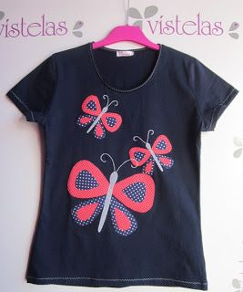 Camiseta marinera con mariposas