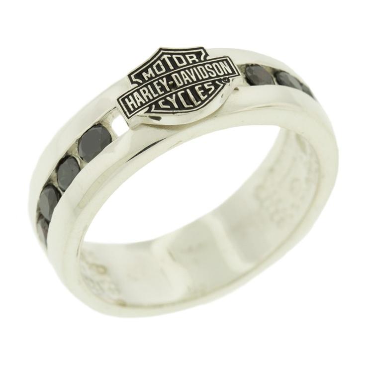 H DR Stamper Mens Sterling Silver 10 Pt Black Diamonds Bar Shield Ring HRG7473BD