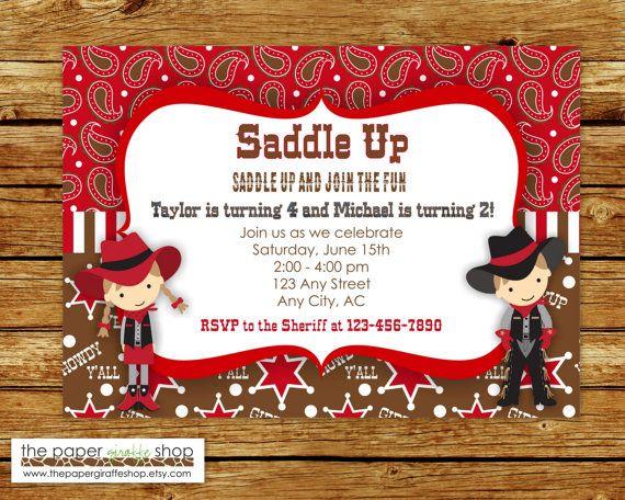 Cowboy et Cowgirl Invitation | Fête d