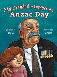 """My Grandad marches on Anzac Day"", by Catriona Hoy - .A little girl sits on her father's shoulders waiting to see her Grandad as he marches in the Anzac Day parade. Explains the importance and significance of Anzac Day in terms that children can understand"