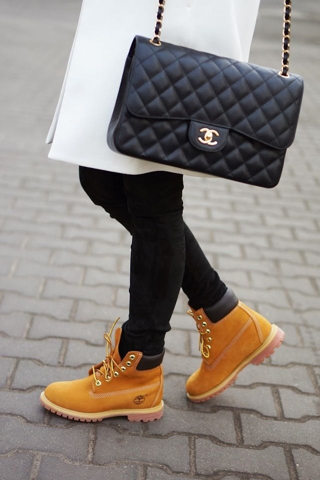 Chanel bag and timberland boots