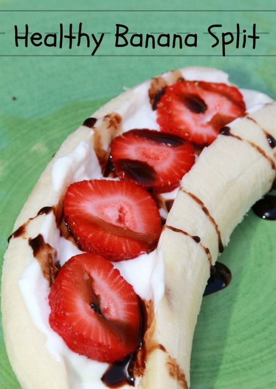 Simple and Healthy Recipes for After School Snacks - Healthy Banana Split with yogurt and strawberries.