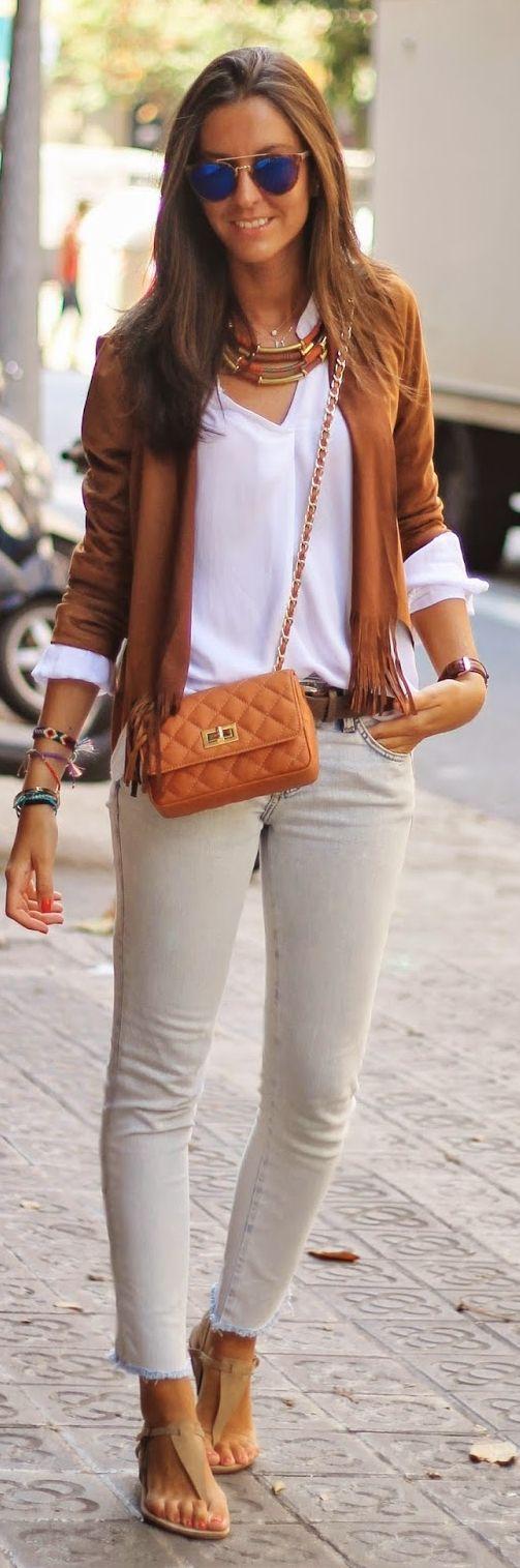 Camel Fringe Crop Jacket by BCN Fashionista