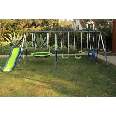 Sportspower Rosemead Metal Swing and Slide Set - Walmart.com