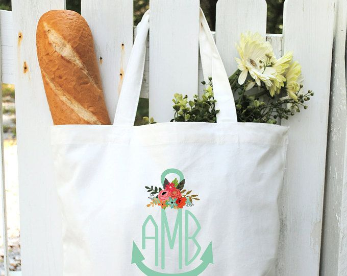 Bolsos bolso de mano personalizado con monograma bolsas de lona Monogram ancla algodón lona