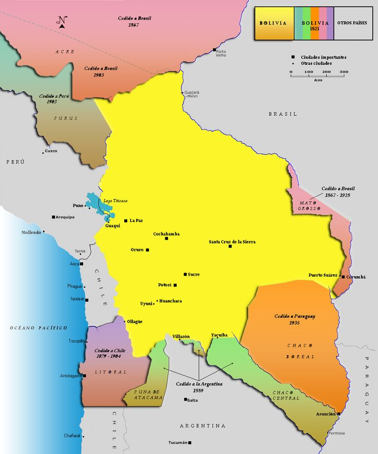 Bolivian territorial losses between its independence and today.