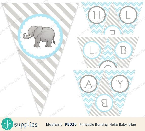 Elephant 'Hello Baby' Bunting  Blue and grey printable bunting for baby shower / nursery. Baby boy. Design by hfcSupplies Etsy - more coordinating items are also available - click through for details and to buy.