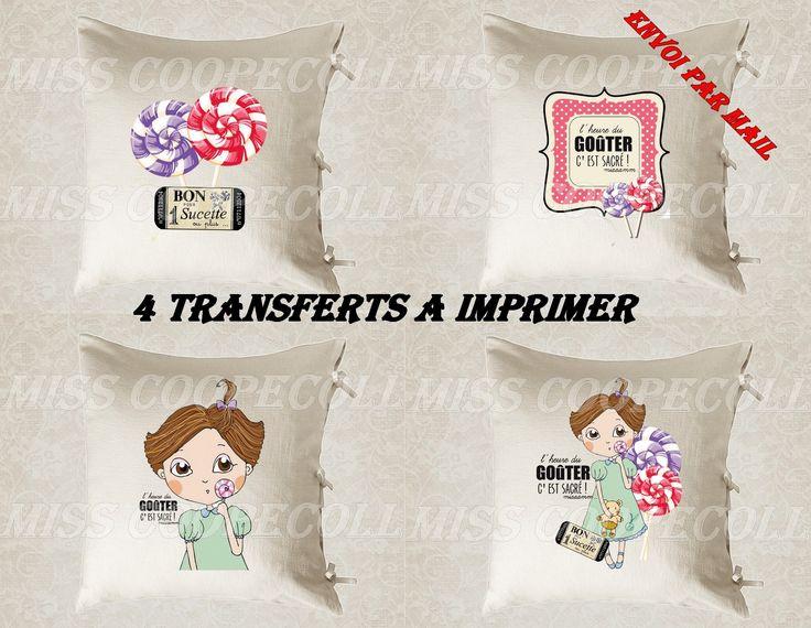 """4 images digitales pour transfert à imprimer """"l'heure du gouter c'est sacré2"""" envoi par mail : Loisirs créatifs, scrapbooking par miss-coopecoll"""