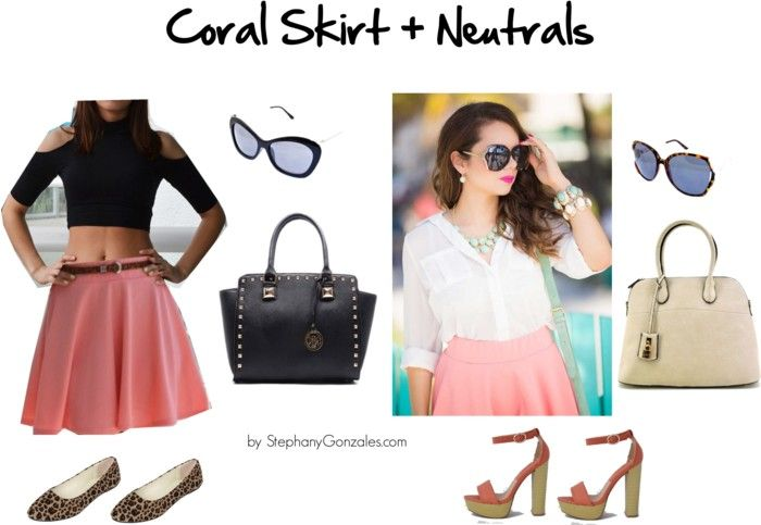 3 formas de usar una falda coral | 3 ways to wear a coral skirt | coral and neutral outfit