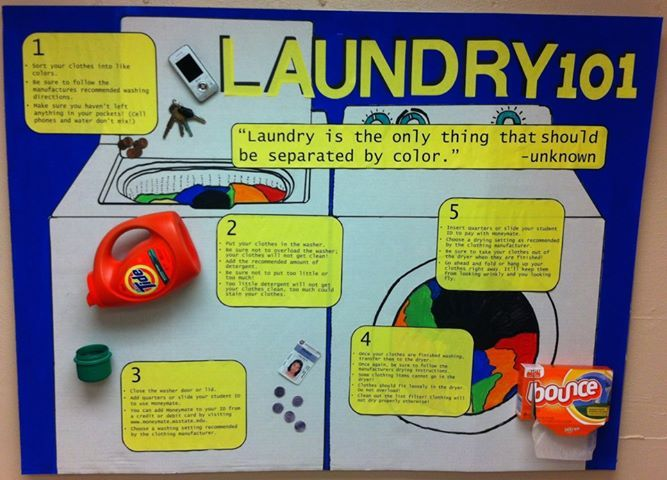 AWESOME looking bulletin board about how to do laundry! Great for freshmen (or even sophomores) who aren't sure how to do their own laundry!
