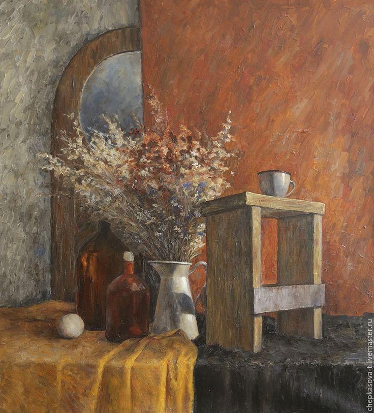 Купить Натюрморт с сухоцветами. Масло, холст - рыжий, терракотовый, теплый, теплый колорит, картины купить