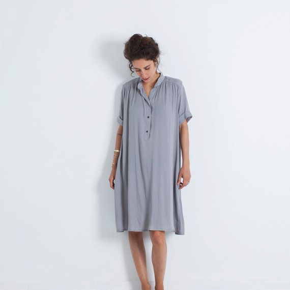 Oversized Dress, Loose Dress, Bohemian Loose Dress, Flare Dress, Oversized Clothing, Preppy Dress, Oversized Tunic, Loose Dress Women, Boho  Short sleeves, loose and effortlessly elegant, this flowing button down dress is a staple whatever your style may be! With a relaxed flared cut, this light and soft preppy inspired dress will flatter your shape and its fit for any occasion. ♥︎Layou Design is designed with every woman in mind! We use only the best quality natural fabrics and pay close…