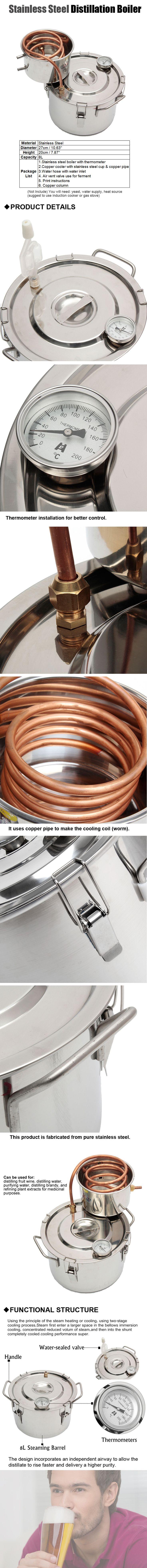 2GAL/8L Copper Ethanol Water Alcohol Distiller Moonshine Still Stainless Steel Distillation Boiler