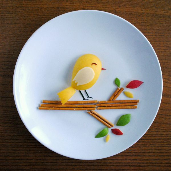 how about cookie | food art using a golden apple and cheese for the apple and Fresh Kids pretzel sticks for the branch/apples for leaves | http://www.howaboutcookie.com