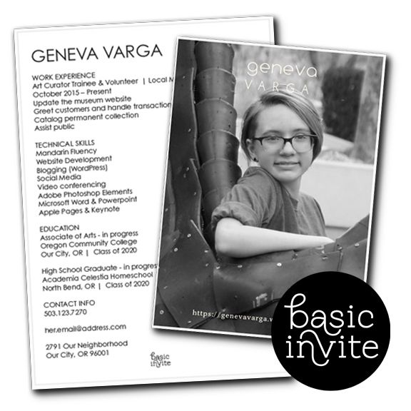 Creating an elegant resume with Basic Invite took only a few minutes and it was all so easy. They are now my go-to resource for personalized stationery.  @EvaVarga.net