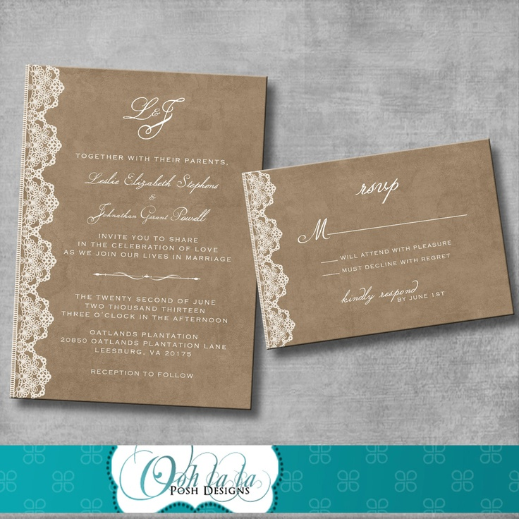 diy wedding invitations for second marriage%0A Wedding Invitation and Matching Response Card  Vintage Rustic Victorian   Customizable  DIY