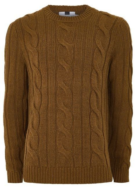 Topman Toffee Brown Chunky Cable Knit Sweater