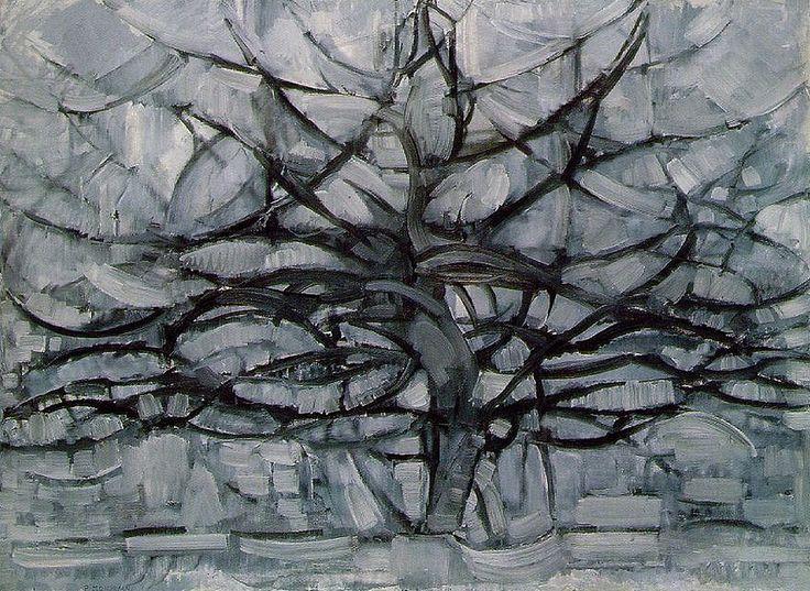 """Мондриан """"Серое дерево"""" 1912 После увиденной в Париже выставки Пикассо и Брамса. Монохромная цветовая гамма и упрощенные очертания дерева для подчеркивания композиционный структуры"""