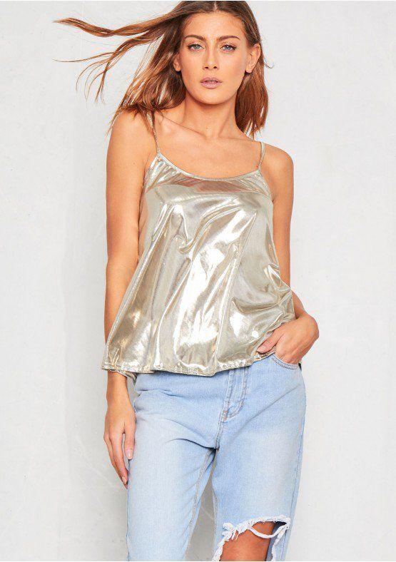 Flissy Silver Metallic Cami Top Missy Empire