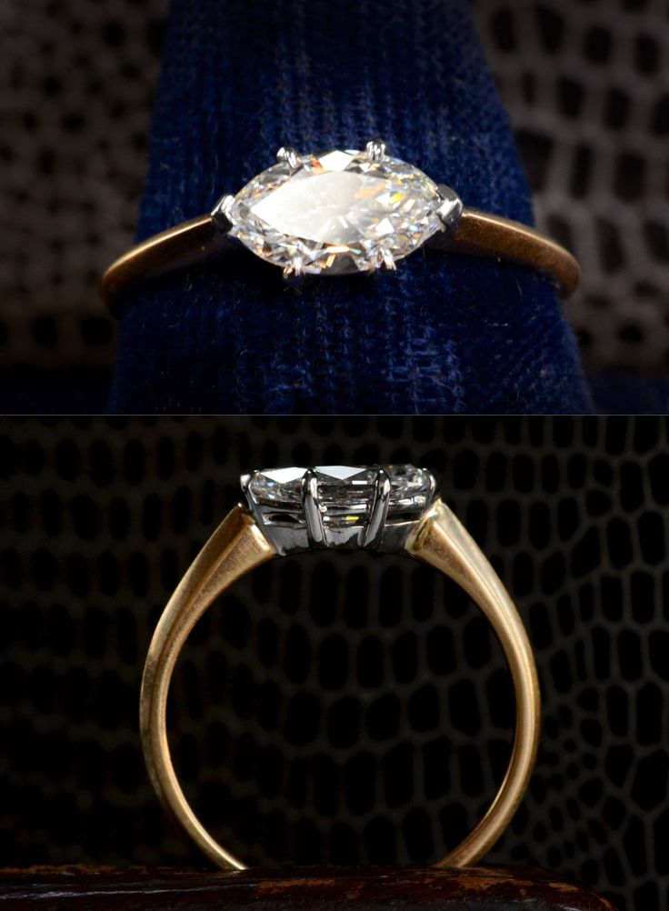 EB Marquise Diamond Ring, Antique 1.03ct Marquise Diamond (GIA E/VVS2), 18K Yellow Gold and Platinum, $9500 Found another beautiful old cut ...