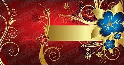 Gorgeous golden flower pattern vector material